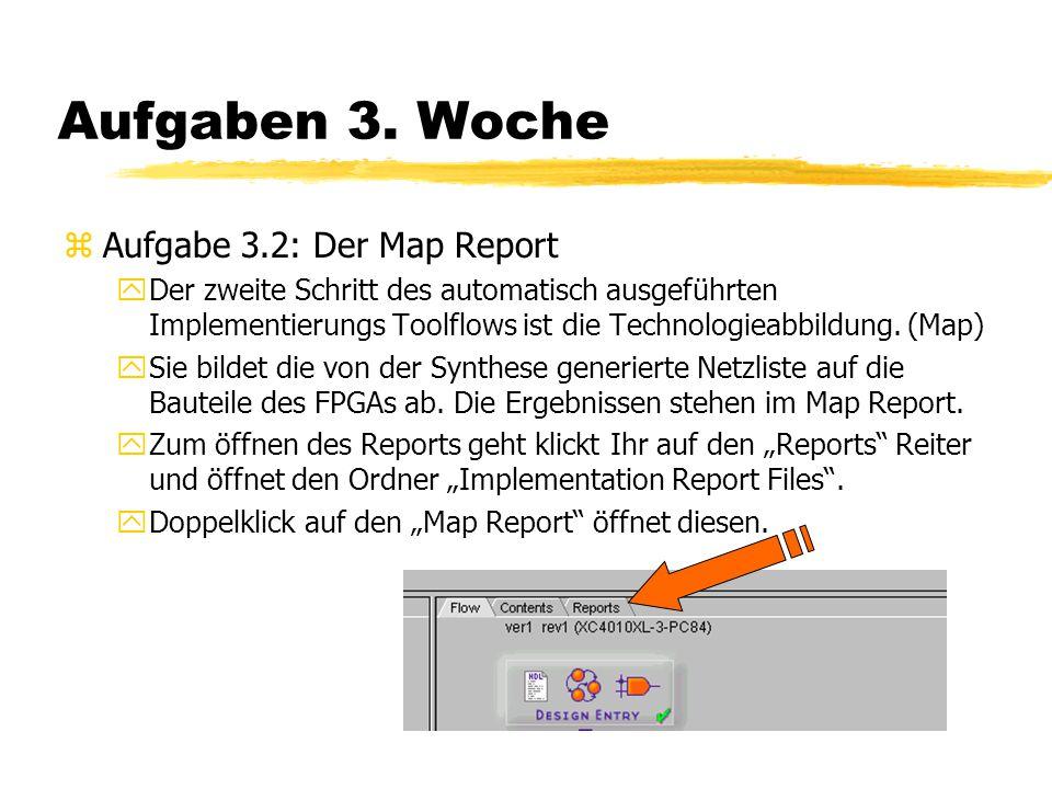 Aufgaben 3. Woche zAufgabe 3.2: Der Map Report yDer zweite Schritt des automatisch ausgeführten Implementierungs Toolflows ist die Technologieabbildun