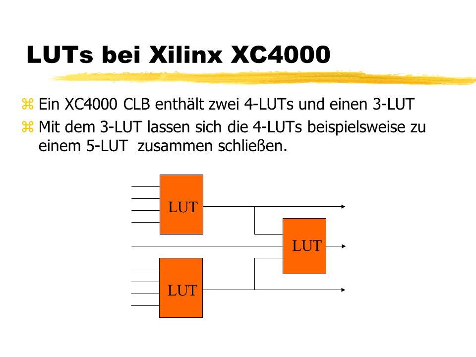 LUTs bei Xilinx XC4000 zEin XC4000 CLB enthält zwei 4-LUTs und einen 3-LUT zMit dem 3-LUT lassen sich die 4-LUTs beispielsweise zu einem 5-LUT zusammen schließen.