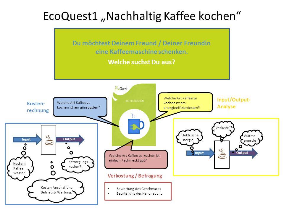 """EcoQuest1 """"Nachhaltig Kaffee kochen : Arbeitsschritte 1)In der ersten Runde trennen sich die Wege der Mitglieder eures BLUKONE-Teams."""