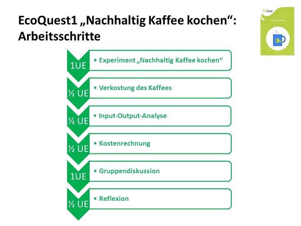 """EcoQuest1 """"Nachhaltig Kaffee kochen : Arbeitsschritte 1UE Experiment """"Nachhaltig Kaffee kochen ½ UE Verkostung des Kaffees ½ UE Input-Output-Analyse ½ UE Kostenrechnung 1UE Gruppendiskussion ½ UE Reflexion"""