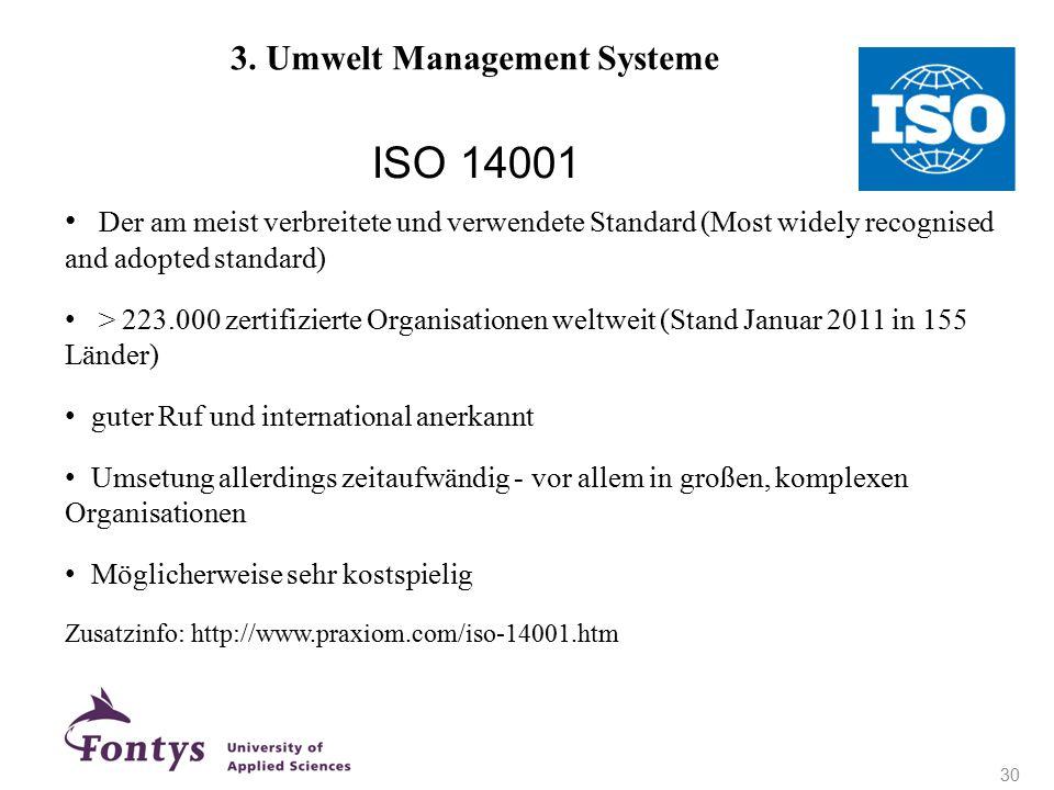 ISO 14001 + Der am meist verbreitete und verwendete Standard (Most widely recognised and adopted standard) > 223.000 zertifizierte Organisationen welt