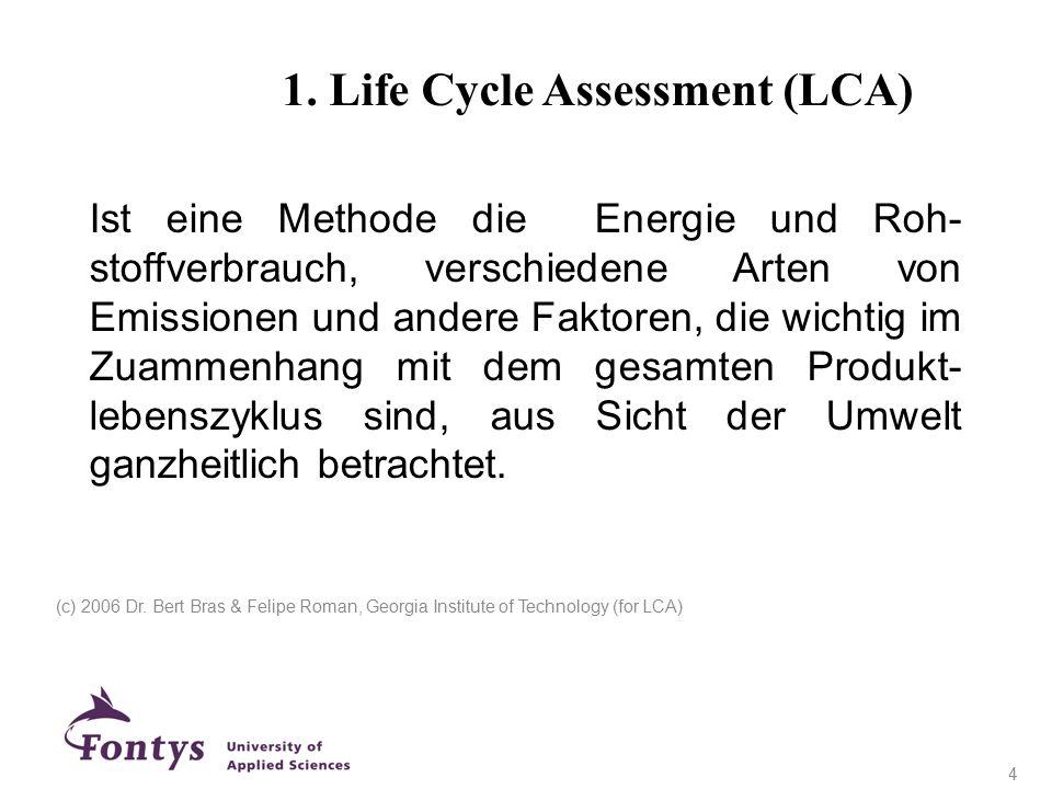 1. Life Cycle Assessment (LCA) Ist eine Methode die Energie und Roh- stoffverbrauch, verschiedene Arten von Emissionen und andere Faktoren, die wichti