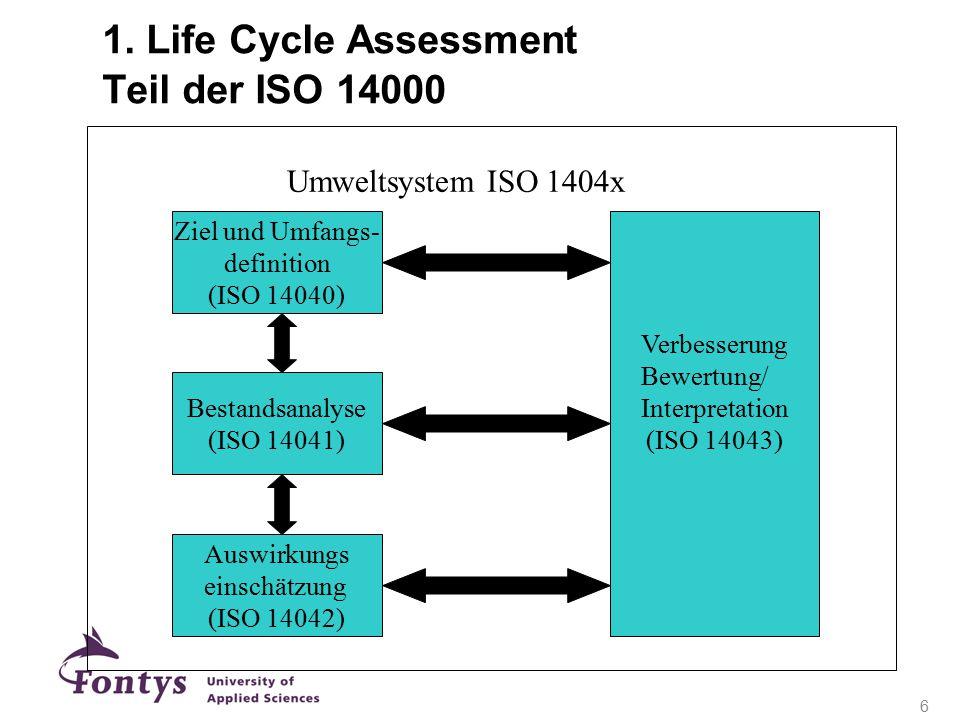1. Life Cycle Assessment Teil der ISO 14000 Interpretation (ISO 14043) Ziel und Umfangs- definition (ISO 14040) Bestandsanalyse (ISO 14041) Auswirkung