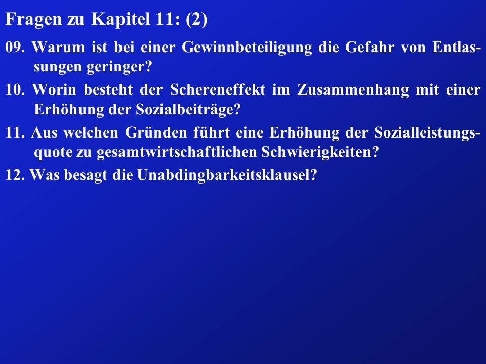 Fragen zu Kapitel 11: (2) 09.
