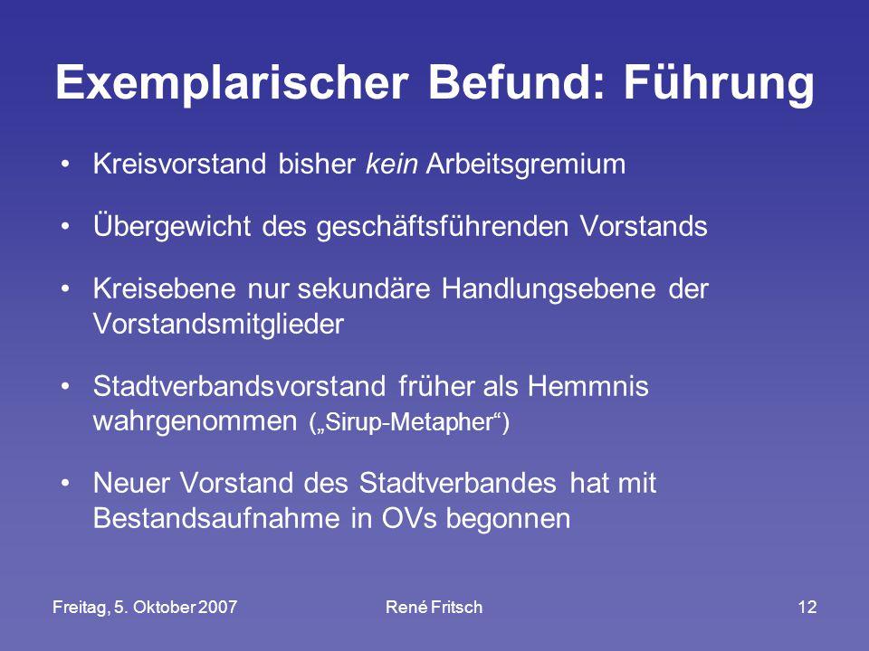 Freitag, 5. Oktober 2007René Fritsch12 Exemplarischer Befund: Führung Kreisvorstand bisher kein Arbeitsgremium Übergewicht des geschäftsführenden Vors