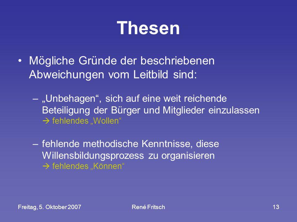 """Freitag, 5. Oktober 2007René Fritsch13 Thesen Mögliche Gründe der beschriebenen Abweichungen vom Leitbild sind: –""""Unbehagen"""", sich auf eine weit reich"""