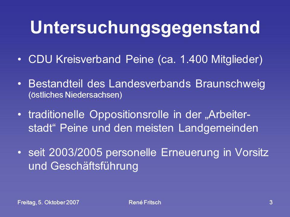 Freitag, 5. Oktober 2007René Fritsch3 Untersuchungsgegenstand CDU Kreisverband Peine (ca. 1.400 Mitglieder) Bestandteil des Landesverbands Braunschwei