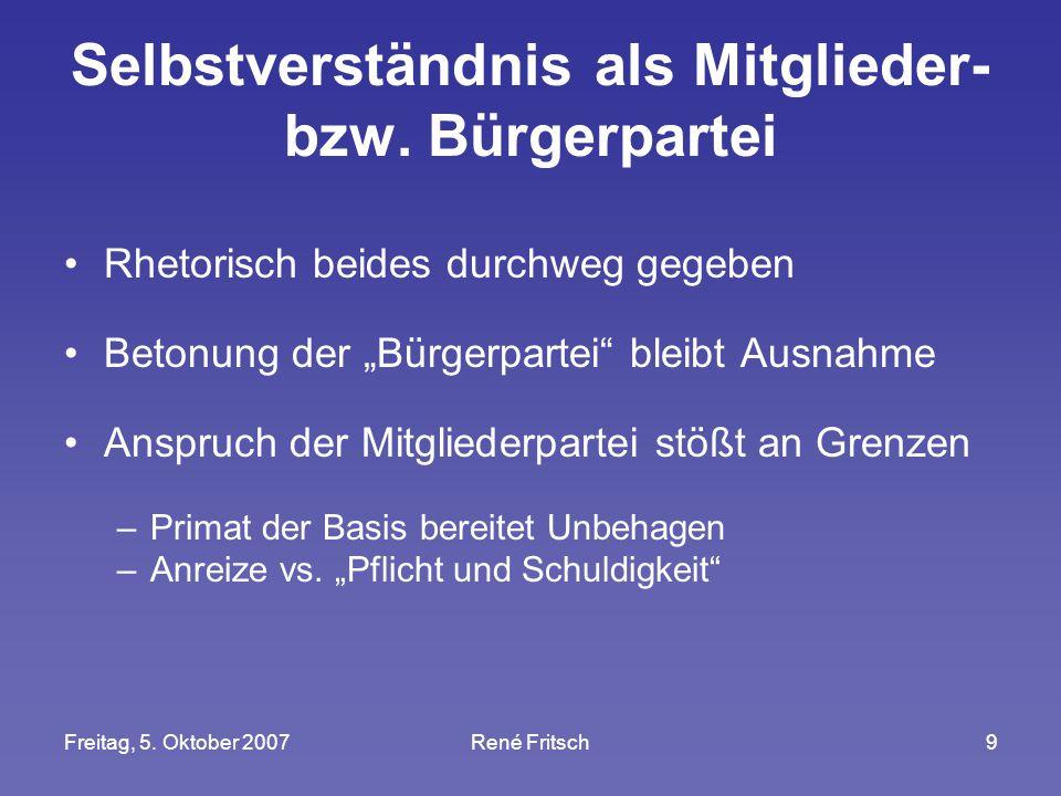 """Freitag, 5. Oktober 2007René Fritsch9 Selbstverständnis als Mitglieder- bzw. Bürgerpartei Rhetorisch beides durchweg gegeben Betonung der """"Bürgerparte"""