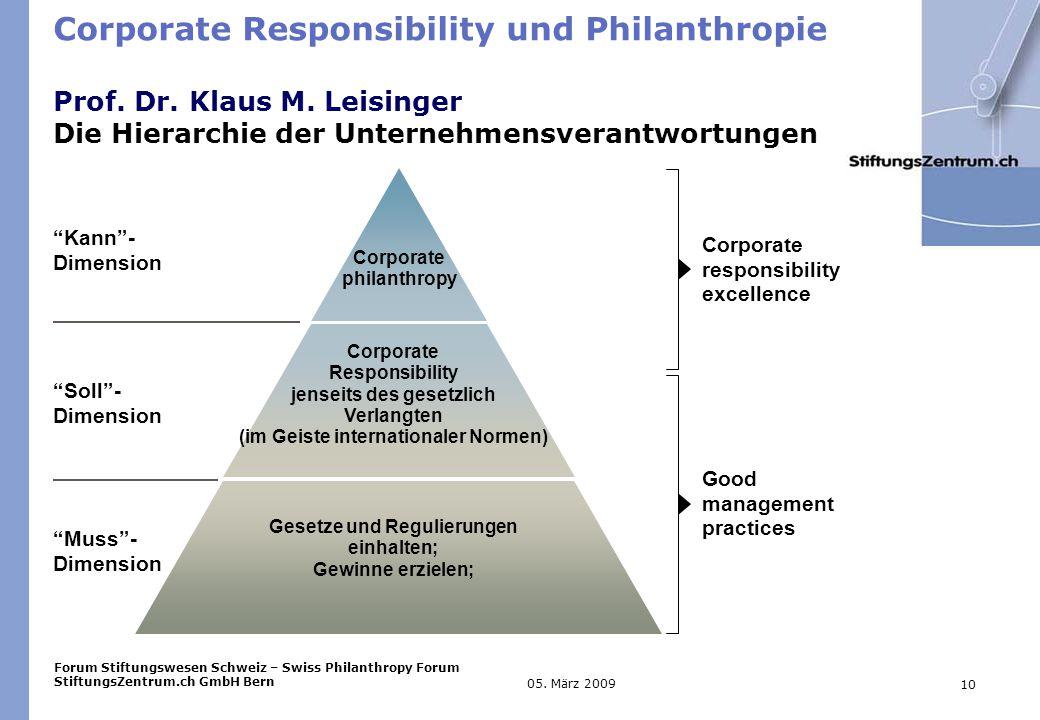 Forum Stiftungswesen Schweiz – Swiss Philanthropy Forum StiftungsZentrum.ch GmbH Bern 10 05.
