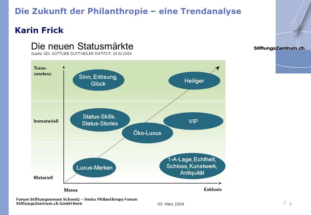 Forum Stiftungswesen Schweiz – Swiss Philanthropy Forum StiftungsZentrum.ch GmbH Bern 7 05.