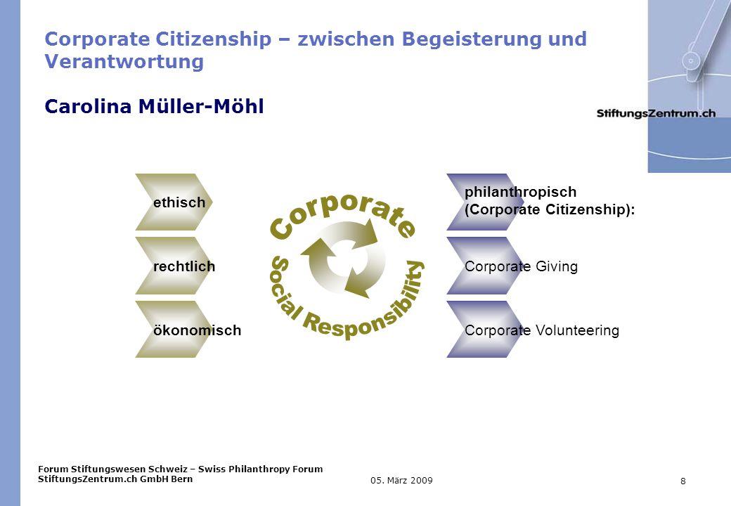 Forum Stiftungswesen Schweiz – Swiss Philanthropy Forum StiftungsZentrum.ch GmbH Bern 8 05.