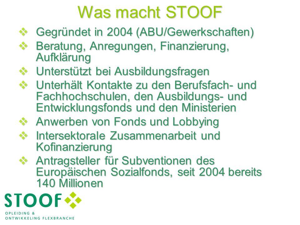Was macht STOOF  Gegründet in 2004 (ABU/Gewerkschaften)  Beratung, Anregungen, Finanzierung, Aufklärung  Unterstützt bei Ausbildungsfragen  Unterhält Kontakte zu den Berufsfach- und Fachhochschulen, den Ausbildungs- und Entwicklungsfonds und den Ministerien  Anwerben von Fonds und Lobbying  Intersektorale Zusammenarbeit und Kofinanzierung  Antragsteller für Subventionen des Europäischen Sozialfonds, seit 2004 bereits 140 Millionen