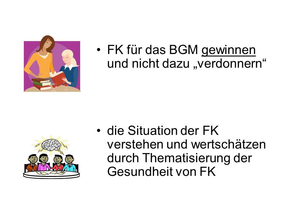 FK umfassend informieren über den Zusammenhang von Führung und Gesundheit Gesundheit und Krankheit aus der Tabuzone holen (Krankheit ist nicht gleich Schwäche!!!)