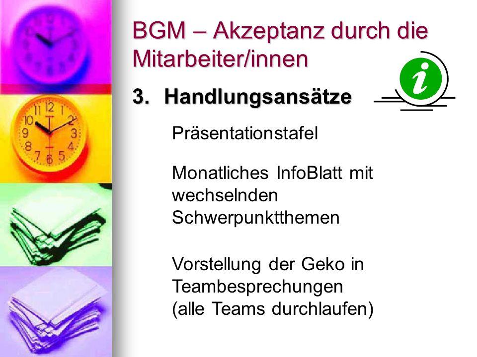 BGM – Akzeptanz durch die Mitarbeiter/innen Bildung von GesundheitsAG's aus den Teambesprechungen - > Evaluation der gewünschten Inhalte bzgl.