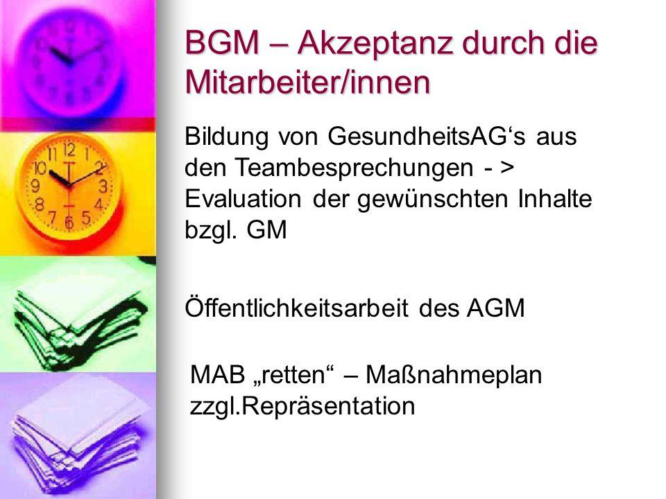BGM – Akzeptanz durch die Koordinierenden Erzieher/innen in Schulen der Region Tempelhof-Schöneberg