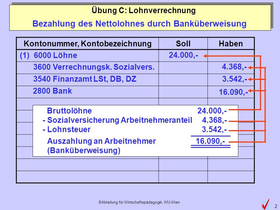 ©Abteilung für Wirtschaftspädagogik, WU-Wien 2 Bezahlung des Nettolohnes durch Banküberweisung Übung C: Lohnverrechnung (1) 6000 Löhne 3600 Verrechnun