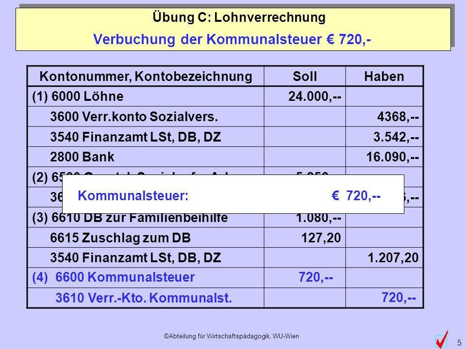 ©Abteilung für Wirtschaftspädagogik, WU-Wien 5 Kontonummer, KontobezeichnungSollHaben (1) 6000 Löhne24.000,-- 3600 Verr.konto Sozialvers.4368,-- 3540