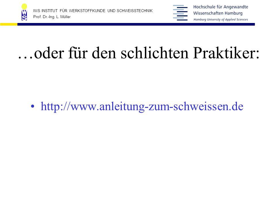 IWS INSTITUT FÜR WERKSTOFFKUNDE UND SCHWEISSTECHNIK Prof. Dr.-Ing. L. Müller …oder für den schlichten Praktiker: http://www.anleitung-zum-schweissen.d