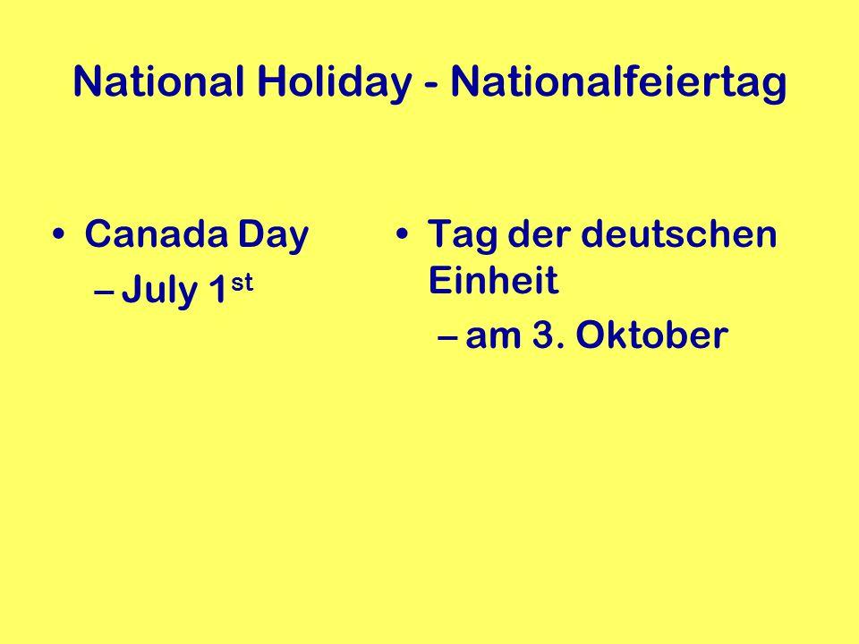 Feiertage in Kanada + in Deutschland Thanksgiving –am 2.