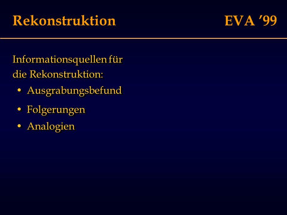 EVA '99 Rekonstruktion Informationsquellen für die Rekonstruktion: FolgerungenFolgerungen AnalogienAnalogien AusgrabungsbefundAusgrabungsbefund