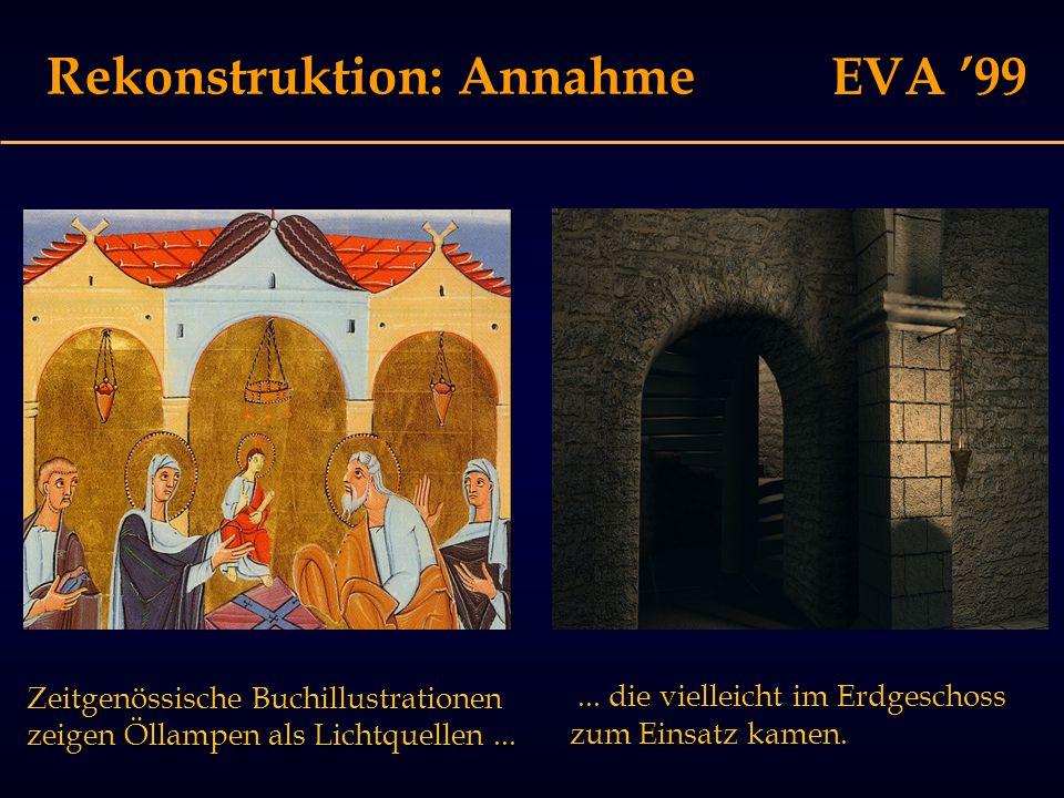 EVA '99 Rekonstruktion: Annahme Zeitgenössische Buchillustrationen zeigen Öllampen als Lichtquellen......