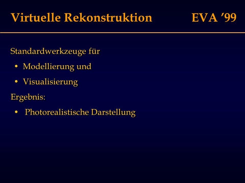 EVA '99 Rekonstruktion Informationsquellen für die Rekonstruktion: FolgerungenFolgerungen AnalogienAnalogien AnnahmenAnnahmen AusgrabungsbefundAusgrabungsbefund