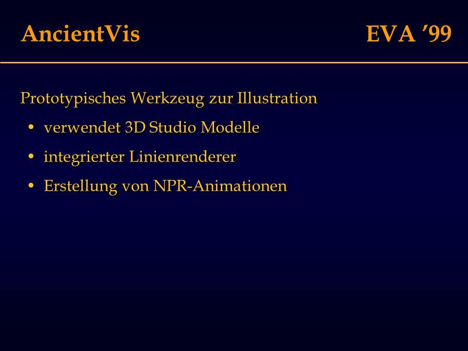 EVA '99 AncientVis Prototypisches Werkzeug zur Illustration verwendet 3D Studio Modelle integrierter Linienrenderer Erstellung von NPR-Animationen Prototypisches Werkzeug zur Illustration verwendet 3D Studio Modelle integrierter Linienrenderer Erstellung von NPR-Animationen