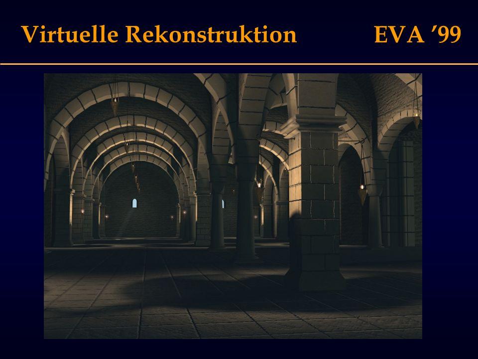 EVA '99 Virtuelle Rekonstruktion Problem I: Photorealismus suggeriert hohe Sicherheit Problem I: Photorealismus suggeriert hohe Sicherheit Problem II: Es gibt verschiedene Grade der Sicherheit Problem II: Es gibt verschiedene Grade der Sicherheit