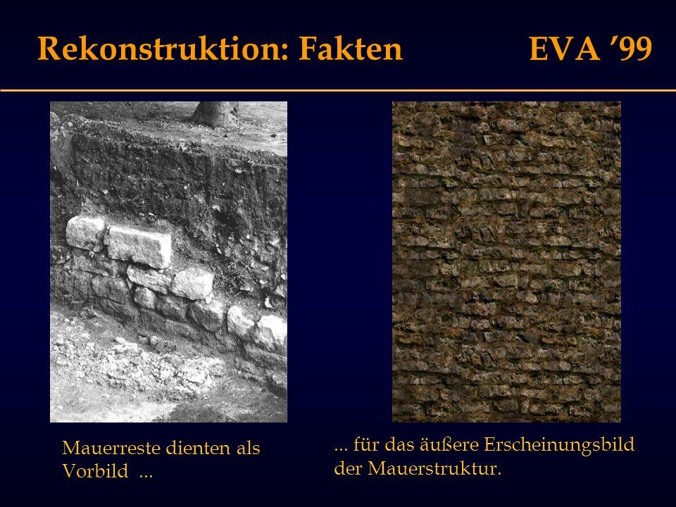 EVA '99 Virtuelle Rekonstruktion Problem I: Photorealismus suggeriert hohe Sicherheit Problem I: Photorealismus suggeriert hohe Sicherheit Problem II: Es gibt verschiedene Grade der Sicherheit Problem II: Es gibt verschiedene Grade der Sicherheit Problem III: Kaum Unterstützung durch Visualisierungswerkzeuge Problem III: Kaum Unterstützung durch Visualisierungswerkzeuge