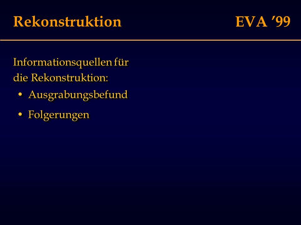 EVA '99 Rekonstruktion Informationsquellen für die Rekonstruktion: FolgerungenFolgerungen AusgrabungsbefundAusgrabungsbefund