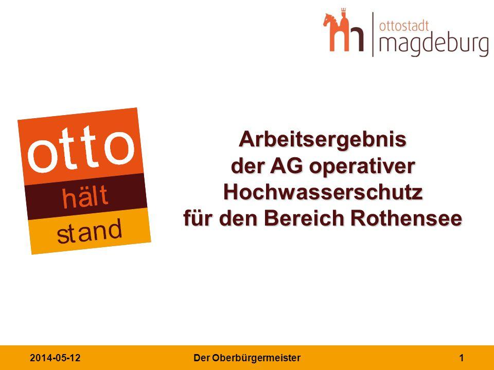 2014-05-12Der Oberbürgermeister1 Arbeitsergebnis der AG operativer Hochwasserschutz für den Bereich Rothensee