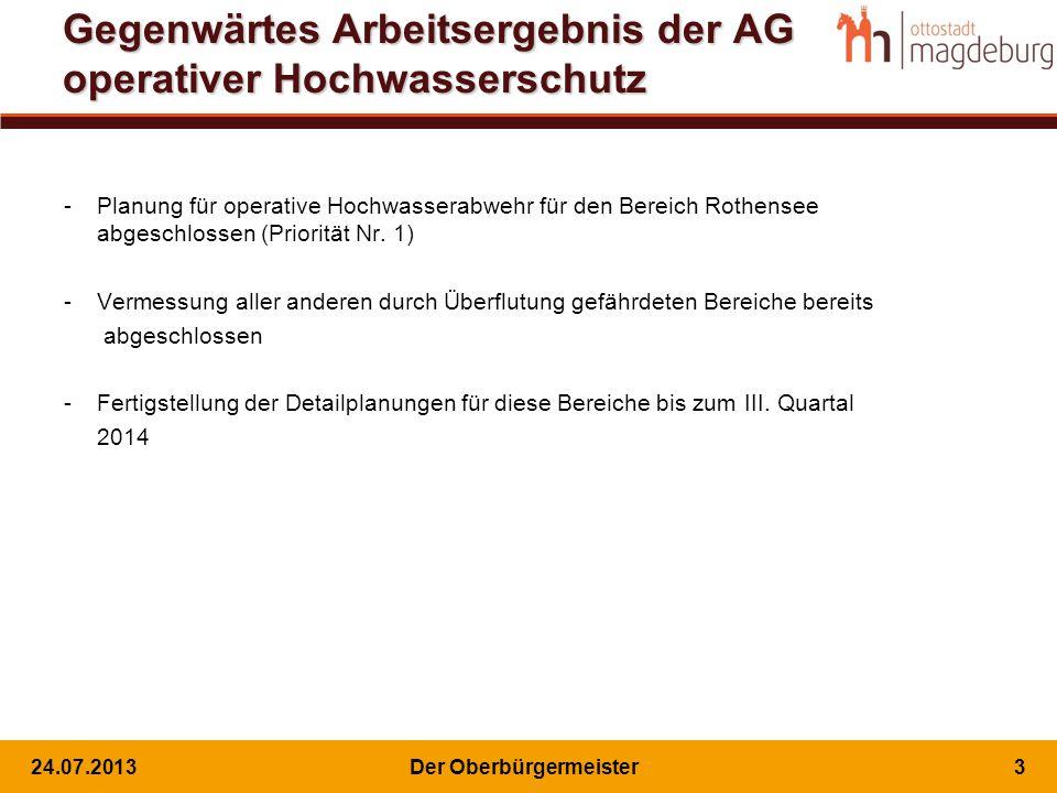 Gegenwärtes Arbeitsergebnis der AG operativer Hochwasserschutz -Planung für operative Hochwasserabwehr für den Bereich Rothensee abgeschlossen (Priorität Nr.
