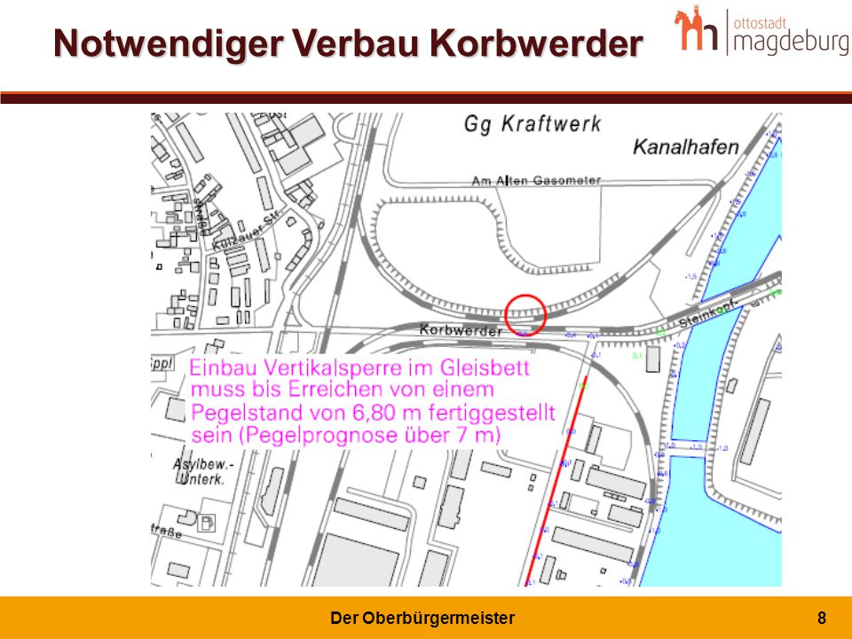 Vorschlag zum Hochwasserschutz für Hafen-, Wirtschafts- und Wohngebiet Rothensee (1)Deich, Spundwand oder Kombination (2)Absperrung Schleusenkanal (3)Schleusentor mit Hochwasserrevisions- verschluss (4)Rückbau Spundwand 1 2 4 3 1