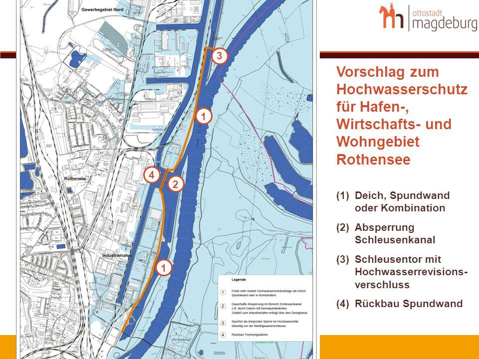 Vorschlag zum Hochwasserschutz für Hafen-, Wirtschafts- und Wohngebiet Rothensee (1)Deich, Spundwand oder Kombination (2)Absperrung Schleusenkanal (3)