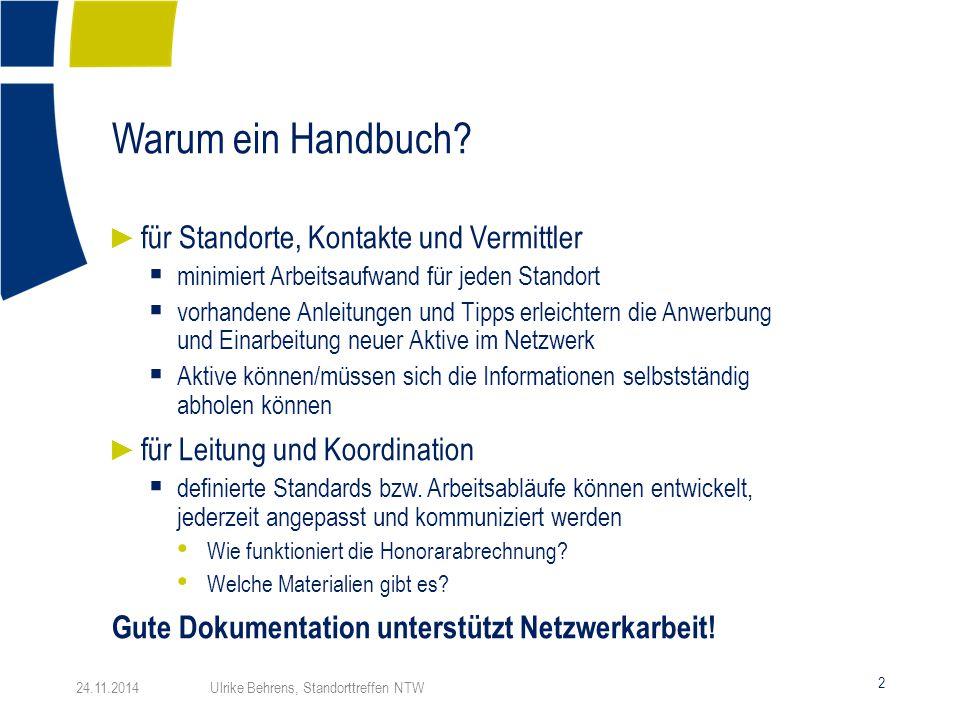 Warum ein Handbuch? 2 24.11.2014 Ulrike Behrens, Standorttreffen NTW ► für Standorte, Kontakte und Vermittler  minimiert Arbeitsaufwand für jeden Sta