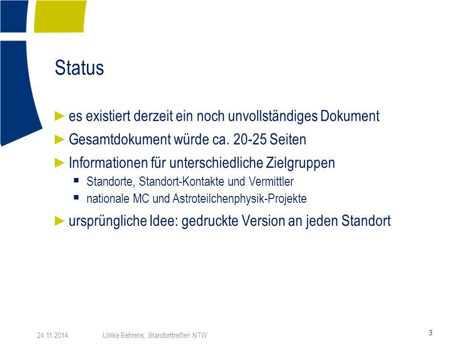 Status 3 24.11.2014 Ulrike Behrens, Standorttreffen NTW ► es existiert derzeit ein noch unvollständiges Dokument ► Gesamtdokument würde ca. 20-25 Seit