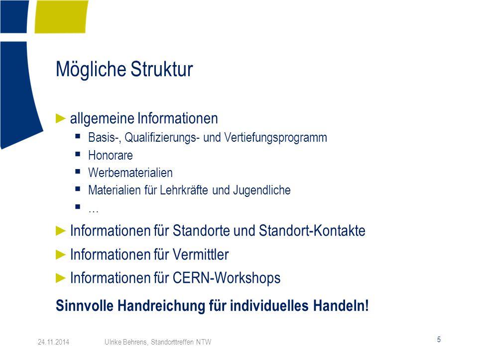 Mögliche Struktur 5 24.11.2014 Ulrike Behrens, Standorttreffen NTW ► allgemeine Informationen  Basis-, Qualifizierungs- und Vertiefungsprogramm  Hon