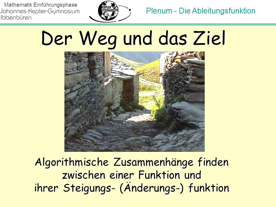 Plenum - Die Ableitungsfunktion Mathematik Einführungsphase Der Weg und das Ziel Algorithmische Zusammenhänge finden zwischen einer Funktion und ihrer