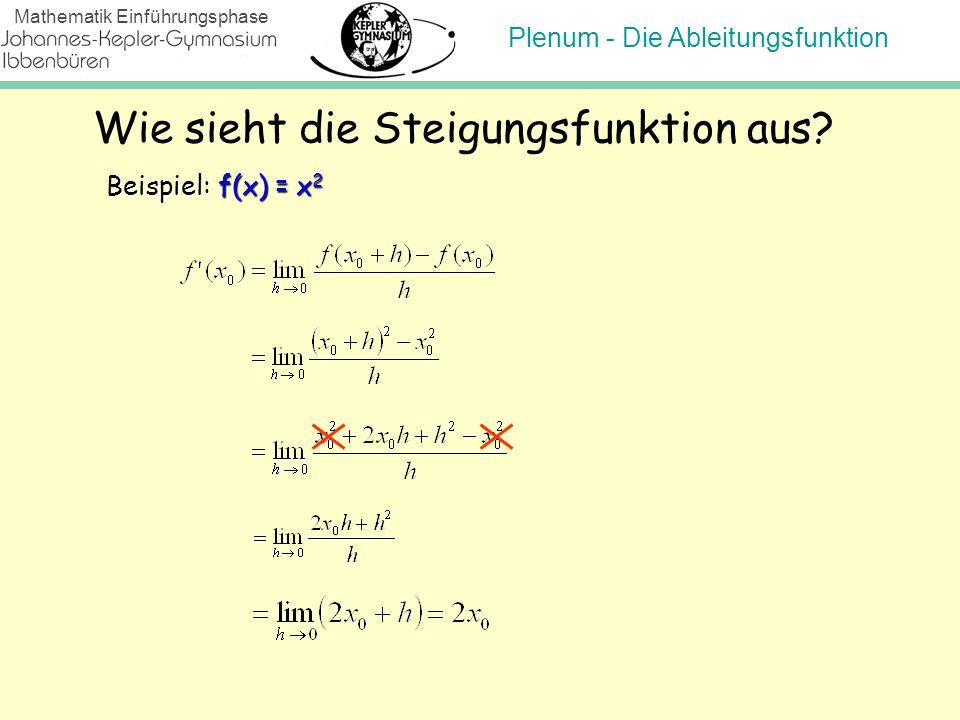 Plenum - Die Ableitungsfunktion Mathematik Einführungsphase Wie sieht die Steigungsfunktion aus? Beispiel: f(x) = x 2