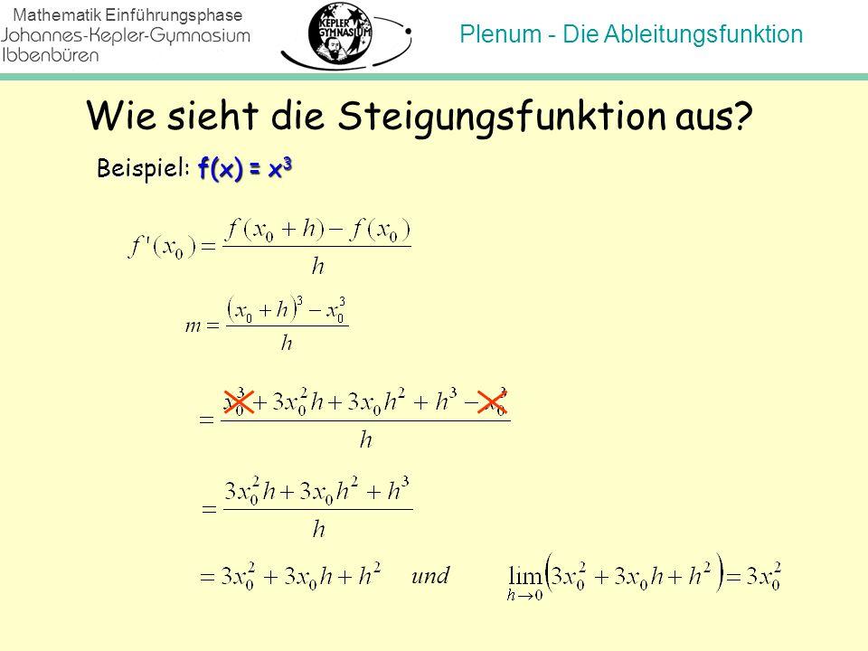 Plenum - Die Ableitungsfunktion Mathematik Einführungsphase Wie sieht die Steigungsfunktion aus? Beispiel: f(x) = x 3 und