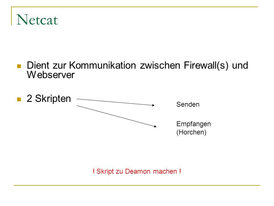 Dient zur Kommunikation zwischen Firewall(s) und Webserver 2 Skripten Senden Empfangen (Horchen) ! Skript zu Deamon machen !