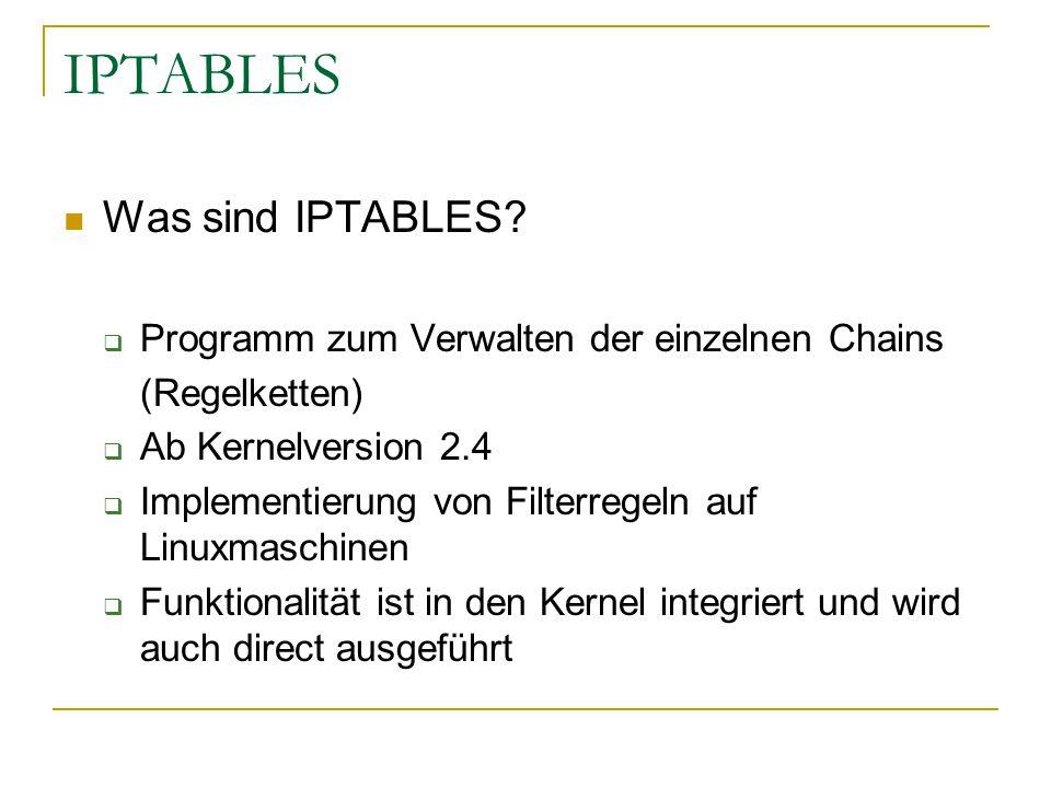 IPTABLES Was sind IPTABLES?  Programm zum Verwalten der einzelnen Chains (Regelketten)  Ab Kernelversion 2.4  Implementierung von Filterregeln auf