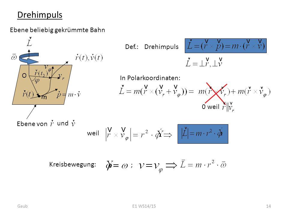 Drehimpuls Ebene beliebig gekrümmte Bahn m O Def.:Drehimpuls Ebene von und In Polarkoordinaten: 0 weil Kreisbewegung: ; weil Gaub14E1 WS14/15