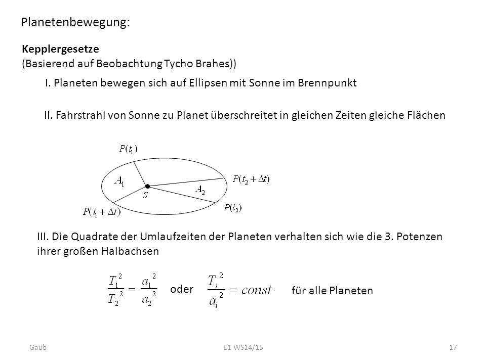 Planetenbewegung: Kepplergesetze (Basierend auf Beobachtung Tycho Brahes)) I. Planeten bewegen sich auf Ellipsen mit Sonne im Brennpunkt II. Fahrstrah