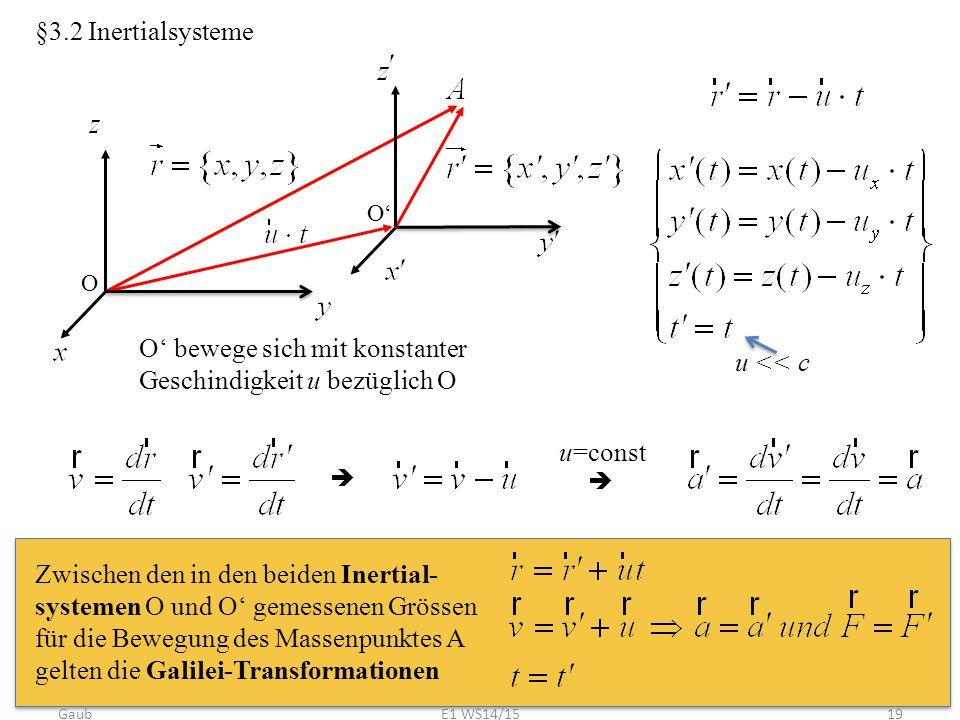§3.2 Inertialsysteme O O' O' bewege sich mit konstanter Geschindigkeit u bezüglich O u << c   u=const Zwischen den in den beiden Inertial- systemen