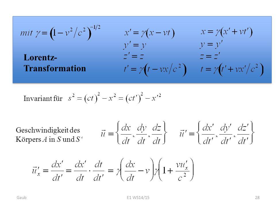 Lorentz- Transformation Geschwindigkeit des Körpers A in S und S' Invariant für Gaub28E1 WS14/15