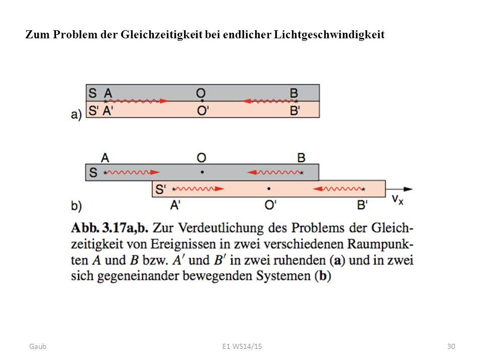 Zum Problem der Gleichzeitigkeit bei endlicher Lichtgeschwindigkeit Gaub30E1 WS14/15