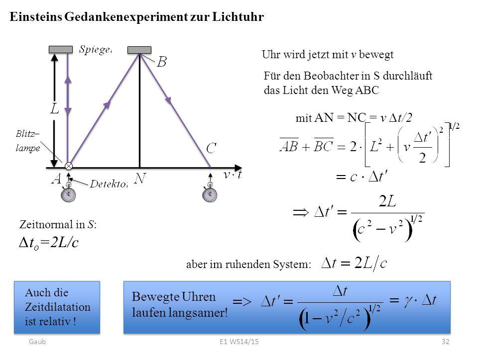 Bewegte Uhren laufen langsamer! Einsteins Gedankenexperiment zur Lichtuhr Zeitnormal in S: ∆t o =2L/c Uhr wird jetzt mit v bewegt Für den Beobachter i