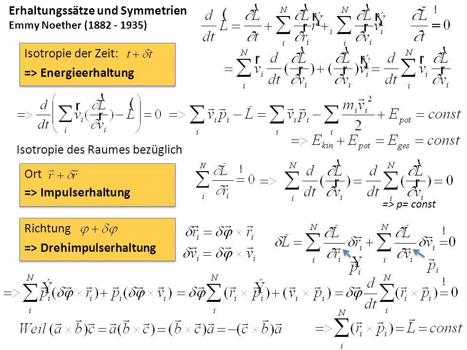 Erhaltungssätze und Symmetrien Emmy Noether (1882 - 1935) Isotropie des Raumes bezüglich => Impulserhaltung => Drehimpulserhaltung Ort Richtung ! ! !