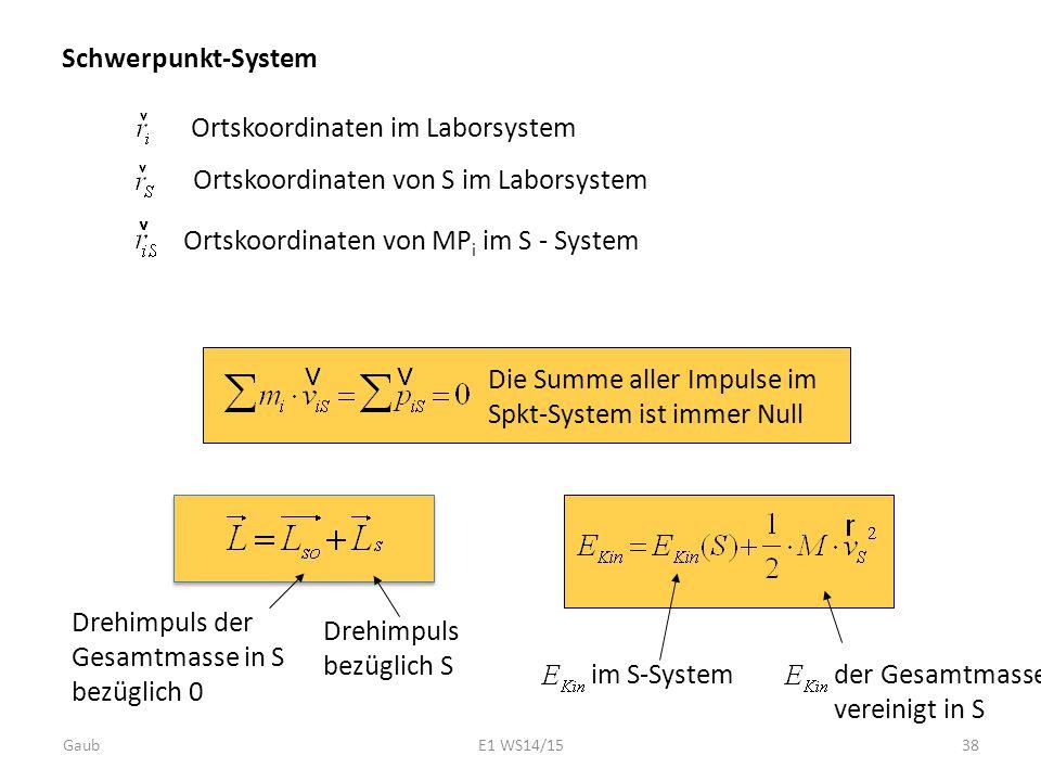 Schwerpunkt-System Ortskoordinaten im Laborsystem Ortskoordinaten von S im Laborsystem Ortskoordinaten von MP i im S - System Die Summe aller Impulse